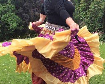 Gypsy skirt, tribal belly dance skirt, flamenco, boho skirt, belly dance costume, purple skirt, 25 yard skirt, ATS skirt
