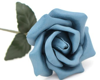 Leather rose blue third Anniversary wedding gift Long Stem leather flower Valentine's Day 3rd Leather Anniversary Mother's Day Prom