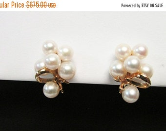 On Sale Vintage Estate Mid Century Classic Mikimoto 14K 12 High Luster Pearl Earrings