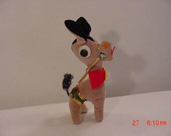 Vintage Googly Eyed Donkey - Mule Plush Toy  17 - 1382