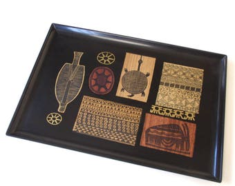 Vintage Couroc Tray Tribal Rare