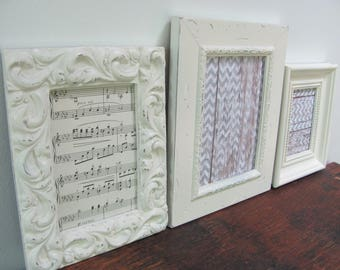 Picture Frame Collection, Antique White Picture Frames, Ornate Wedding or Nursery Frames