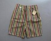 Vintage 1940s Shorts / 1950s Shorts / Stripe Shorts / High Waist Shorts / Bakelite Colors / 50s Shorts 1960s Deadstock XS XXS