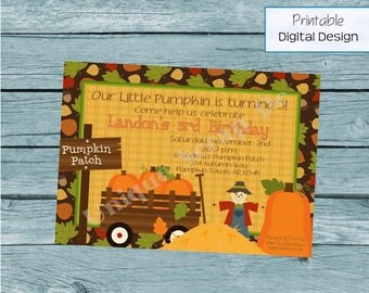 Pumpkin Patch Birthday Party Invitation Style DI2156 DIGITAL FILE - Printable