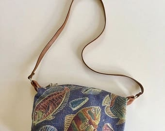 AWAY SALE 20% off vintage tapestry bag - BY The Sea novelty print purse