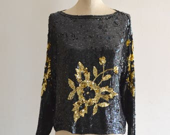 80s Black Gold Floral Sequin Flower Beaded Dolman Sleeve Silk Top Heavily Blouse Street Style Size S