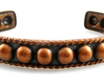 Vintage 1960s 70s Handmade Copper Beaded Domed & Twisted Wire Cuff BRACELET