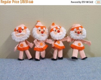 50% OFF Set of 4 Felt Santas - Japan