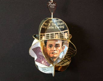 Johnny Cash Album Cover Ornament Made Of Repurposed Record Jackets