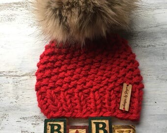 CHRISTMAS Knitted Baby Hat with LARGE Faux Fur Pom - Chunky Knitted Baby Hat - Baby Knitted Hats with Pom poms - Faux Fur Pom