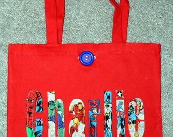 Boy's Large Personalized Tote (with button closure) - super hero batman spiderman superman action birthday party gift idea boys school tote