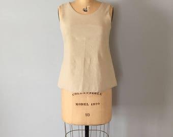 nude linen crop top | arc top | linen nude top