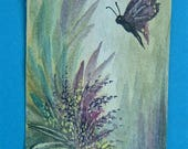 butterfly fantasy art painting aceo (ref E139)