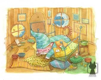 Cat illustration - large nursery wall art - original watercolor painting - sleeping cat bedroom decor
