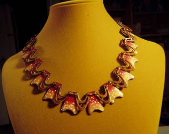 Vintage 1950s Matisse Renoir Copper Peach Enamel Link Necklace 9319