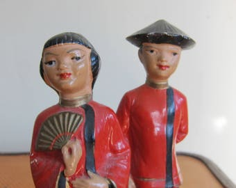 Vintage 1950s ABCO Chinese Red Chalkware Figurines / 50s Midcentury Alexander Backer Lady with Fan and Chinaman Traditional Dress AS IS