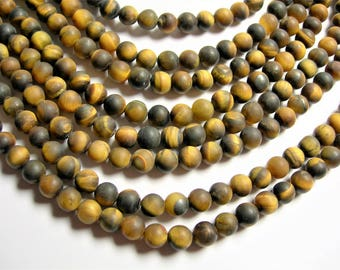 Tiger eyes matte - 6 mm round beads - 1 full strand - 63 beads - RFG1311