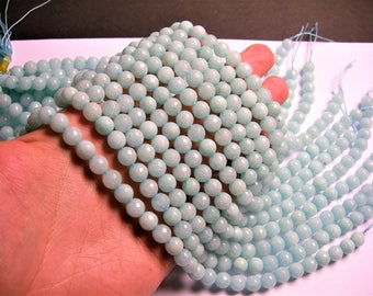 Jade - 8 mm faceted round beads -1 full strand - 48 beads -  Color jade - blue Jade - JDC40