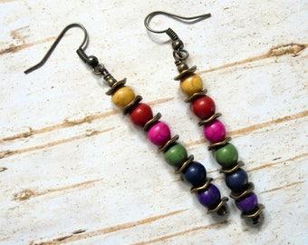 Rustic Boho Rainbow Earrings (3708)