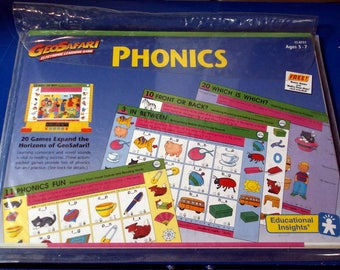 Vintage Set Geo Safari Phonics Electronic Learning Game Ages 3 - 7 1991