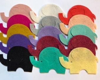 Wool Felt Elephants 15 Count - Random Colored 3036 - felt animals - felt for kids - baby show decor