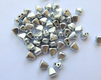 Nib-Bit Two Hole 6x5mm Matte Metallic Aluminum 10 grams Czech Glass Beads