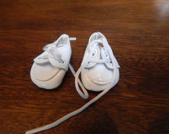 Small White Patent Leather Doll Shoes