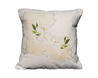 LA Watercolor Floral State Pillow   Cotton Canvas Pillow   Pillow Form Included