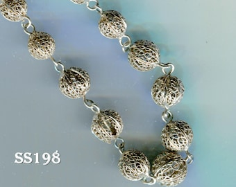 Antique Victorian Filigree Sterling Silver Bead Necklace SS198