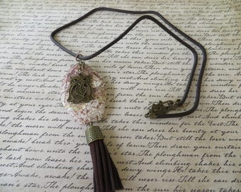 Large Jasper Pendant With Owl Focal Charm And Brown Leather Tassel On Cord Necklace