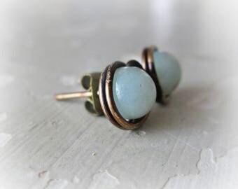 Brass Post Earrings, Amazonite Studs, Aqua Post Earrings, Patina Stud Earrings, Raw Brass Studs, Oxidized Post Earrings, Natural Stone Studs