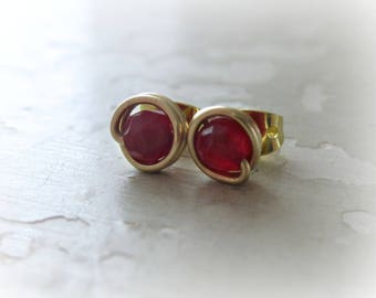 Red Stud Earrings, Tiny Sterling Studs, Deep Red Earrings, Faceted Studs, Gold Stud Earrings, Cherry Red Earrings, Gemstone Studs,Gold Posts