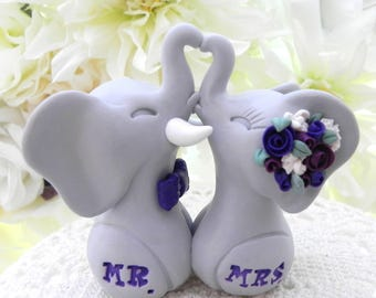 Wedding Cake Topper, Elephants in Love, Grey and Shades of Purple and Plum, Mr. & Mrs. Bride and Groom Keepsake