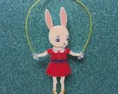 Skipping Bunny Handmade Perspex Brooch - Red Dress