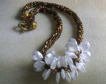 Kumihimo Brown Variagated Beaded Necklace with white accent Beads