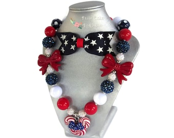 Baby Girls July 4th Minnie Mouse Necklace Set/4th of July Chunky Necklace/Toddler Bubblegum Necklace/Girls Necklace/Baby Necklace