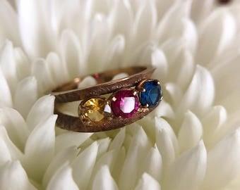 Vintage 10K Yellow Gold Semi Precious Stone Ring
