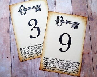 Wedding Table Numbers Skeleton Key Cards Rustic Vintage Style Table Decor
