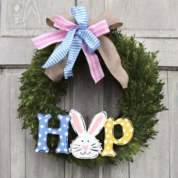 Easter HOP wreath, Easter Bunny wreath, boxwood spring wreath, bunny wreath, spring door hanger