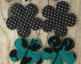 Black Patterned Flower Appliques for Making your own Hair Clips