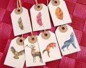 7 labels feathers and animals, gift wrapping, ivory color tag, label forest animal theme