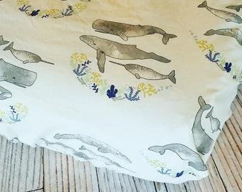 Fitted Crib Sheet - Baby Crib Sheet - Nautical Crib Sheet - Nautical Baby Sheet - Whale Crib Sheet - Toddler Sheet - Changing Pad Cover
