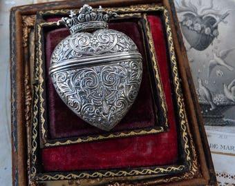 Antique Victorian Crowned Heart Vinaigrette Pendant, Petite European Locket Box Pendant, offered by RusticGypsyCreations