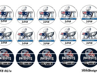 "Super Bowl 52 Inspired  ~  Instant Download ~ set of 15  1"" Digital Bottle Cap Images (FB 041n) Patriots"