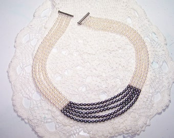 Vintage 5 String Freshwater Pearl Necklace Off White and Black/Grey Collectible .925 Sterling Silver Choker Cream Multi Strand Real