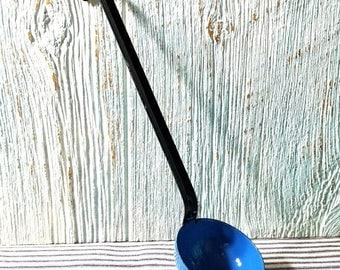 Yearly Big Sale: Vintage Bright Blue Enamelware Ladle, Primitive Metal Kitchen Soup Spoon Utensil Made in Poland