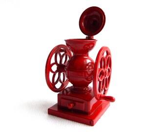 "Vintage Antique Mini Red Coffee Grinder Pencil Sharpener - WORKS - Die Cast Metal - Wheels Turn - Lid Opens - 3"" High - Signed"