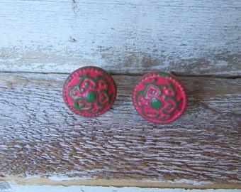 2 Pink and Green Drawer Knobs Bohemian Hippie Traditional Cottage Farmhouse Style Pink and Green Silver Knobs B-7