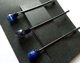 Blue Gemstone Trio Bobby Pin Pack - Something Blue - Kyanite, Iolite, Lapis