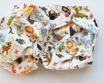 One Size, cloth diaper cover, fleece lined PUL with AI2 option, alphabet zoo animals
